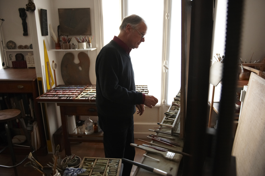 Jean Claude Courat, French artist, his work, studio, materials and apartment.